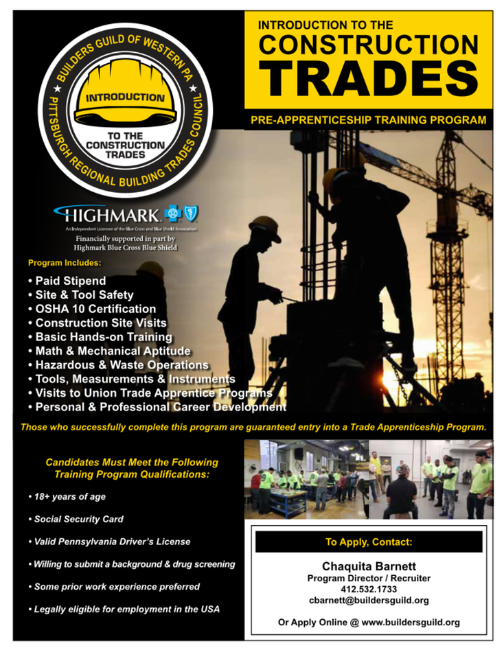 Flyer from The Builders Guild Pre Apprentice Training Program